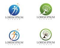 Os povos do sucesso da saúde importam-se o molde do logotipo e dos símbolos Foto de Stock Royalty Free