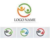 Os povos do sucesso da saúde importam-se o molde do logotipo e dos símbolos Fotos de Stock
