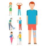 Os povos do vetor da segurança do corpo humano da fratura do acidente do traumatismo mostram em silhueta a ilustração lisa do est Fotografia de Stock Royalty Free