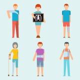 Os povos do vetor da segurança do corpo humano da fratura do acidente do traumatismo mostram em silhueta a ilustração lisa do est Fotos de Stock