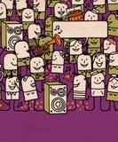 Os povos dos desenhos animados aglomeram-se e tempo feliz do partido ilustração do vetor
