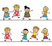 Os povos dos desenhos animados correm e alcançam um com o otro Foto de Stock Royalty Free