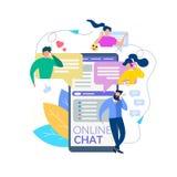 Os povos dos desenhos animados falam a relação de mensagem do telefone celular ilustração royalty free