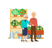 Os povos entre idades andam através da alameda, fazem uma compra ilustração royalty free