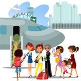 Os povos escalam a escada a bordo do plano, homens de aterrissagem e as mulheres no avião no aeroporto vector a ilustração, passa Imagens de Stock Royalty Free