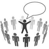 Os povos escutam a bolha do discurso do anúncio do líder ilustração stock