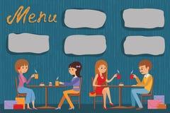 Os povos estão sentando-se em um café Vector a ilustração do menu do molde, do folheto, do café dos insetos ou do restaurante Imagem de Stock Royalty Free