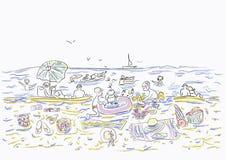 Os povos felizes estão nadando no mar Crianças na areia Ilustração editável bonita do vetor Fotografia de Stock