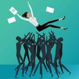 Os povos lanç acima da mulher de negócio Imagem de Stock Royalty Free