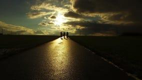 Os povos mostram em silhueta na estrada na natureza do campo na paisagem do por do sol video estoque