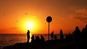 Os povos mostram em silhueta no por do sol vídeos de arquivo