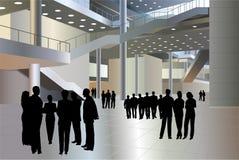 Os povos mostram em silhueta no vetor do centro de negócios Fotos de Stock Royalty Free