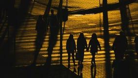 Os povos mostram em silhueta o tr?fego da multid?o no por do sol longo das sombras do cruzamento de estrada video estoque