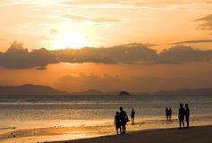 Os povos na praia olham ao por do sol foto de stock royalty free