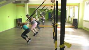 Os povos no gym são contratados nos laços de TRX e executam um exercício no tríceps, reforço da extensão do músculo video estoque