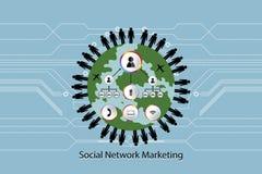 Os povos o transporte do mercado que do conceito do ícone da rede se comunica na ilustração do vetor do mundo no fundo azul com o Fotografia de Stock Royalty Free