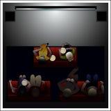 Os povos olham o filme no cinema ilustração stock