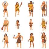 Os povos primitivos vector o personagem de banda desenhada primitivo do neanderthal e o homem das cavernas antigo na ilustração d Foto de Stock Royalty Free