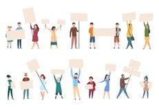 Os povos protestam os ativistas fêmeas masculinos com bandeiras e os cartazes na manifestação da política Vetor do ativista polít ilustração stock