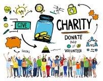 Os povos que a celebração dá a ajuda doam o conceito da caridade imagens de stock royalty free