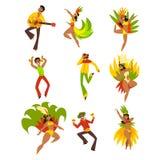 Os povos que dançam e que jogam a música, o carnaval de Brasil, homens de dança e mulheres em trajes brilhantes vector ilustraçõe ilustração do vetor