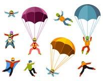 Os povos são contratados em ilustrações de salto de paraquedas extremas do vetor em um fundo branco ilustração do vetor
