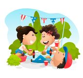 Os povos são exteriores no piquenique de comemoração em 4o julho Ilustra??o do vetor no estilo liso dos desenhos animados ilustração do vetor