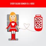 Os povos são herói para o vetor da doação de sangue Fotografia de Stock