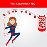 Os povos são herói para o vetor da doação de sangue Fotos de Stock Royalty Free