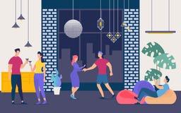 Os povos têm o divertimento no partido no vetor liso do clube noturno ilustração stock
