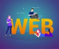 Os povos usam o communicationst digital para o Web site tornando-se e de aperfeiçoamento e o desenvolvimento móvel do Web site ilustração stock