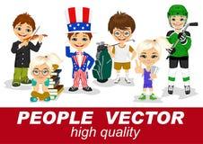Os povos vector com caráteres das crianças ilustração stock