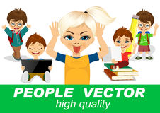 Os povos vector com caráteres das crianças Imagens de Stock