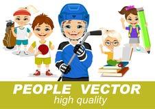 Os povos vector com caráteres das crianças Foto de Stock