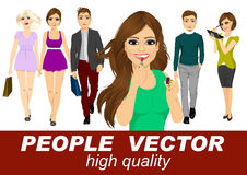 Os povos vector com vários caráteres Imagem de Stock