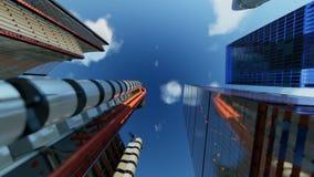 Os prédios de escritórios do centro contra nuvens do timelapse, zumbem dentro filme