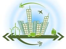 Os prédios de escritórios representam empresas e arranha-céus do projeto ilustração stock