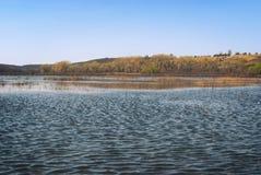 Os prados e os pastos no vale montanhoso inundaram com um córrego do rio da mola foto de stock