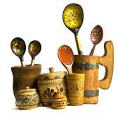 Os pratos de madeira Foto de Stock Royalty Free
