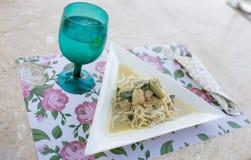 Os pratos dos espaguetes Fotos de Stock Royalty Free