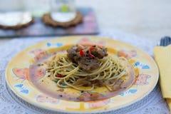 Os pratos dos espaguetes Imagem de Stock