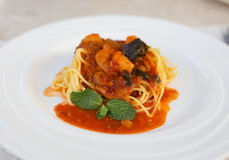 Os pratos dos espaguetes Fotografia de Stock Royalty Free