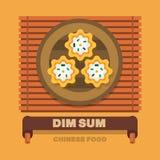 Os pratos nacionais de China, Dim Sum - Vector o projeto liso Foto de Stock Royalty Free