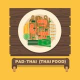 Os pratos nacionais de Tailândia, macarronetes tailandeses (almofada tailandesa) - Vector o plano ilustração do vetor