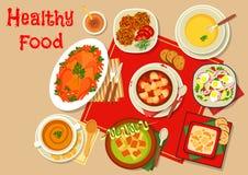 Os pratos principais do ícone do jantar para o menu projetam ilustração stock