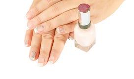 Os pregos da mulher bonita com o tratamento de mãos francês bonito isolado Imagens de Stock Royalty Free