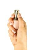 Os pregos da mulher bonita com o tratamento de mãos francês bonito isolado Fotografia de Stock Royalty Free