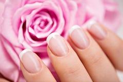 Os pregos da mulher bonita com tratamento de mãos francês e aumentaram fotos de stock