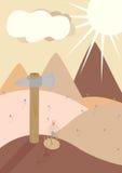 Os pregos das ilustrações do trabalho da ferramenta do martelo encontram a pilha da paisagem Imagens de Stock Royalty Free