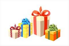 Os presentes, caixas do feriado, fitas, curvam-se Fotografia de Stock